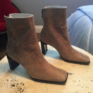 Stuart Weitzman Snake Embossed Ankle Boots